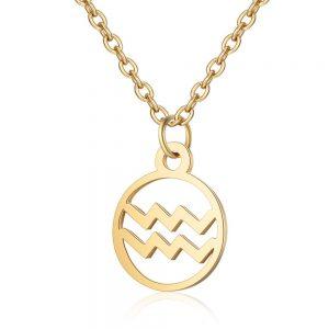 Elegant Round Astrological Star Signs Aquarius Steel Silver