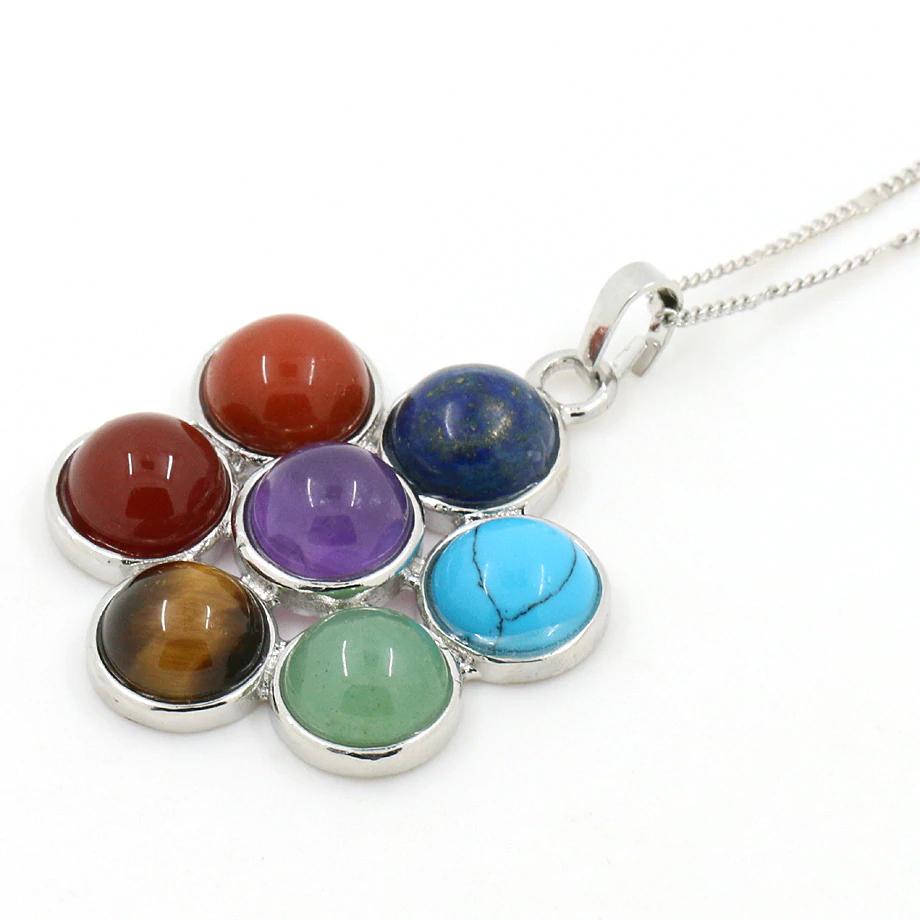 Reiki Chakra Stone Pendant Colourful