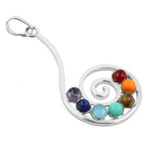 Spiral Reiki Symbol with Seven Reiki Stones Pendant